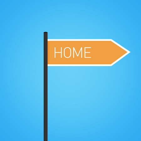 Home nearby, orange road sign concept, flat design photo