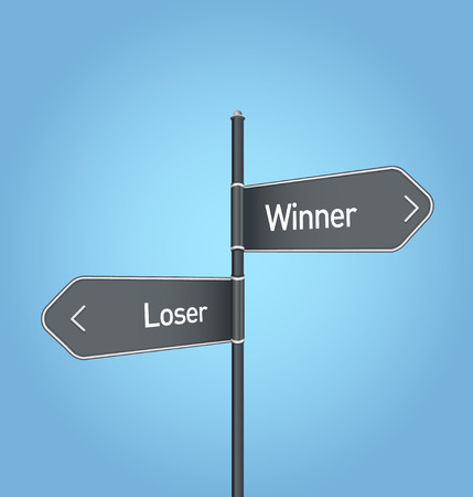 opposed: Winner vs loser choice concept road sign on blue background