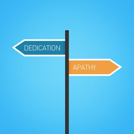 apathy: Dedication vs apathy choice road sign concept, flat design