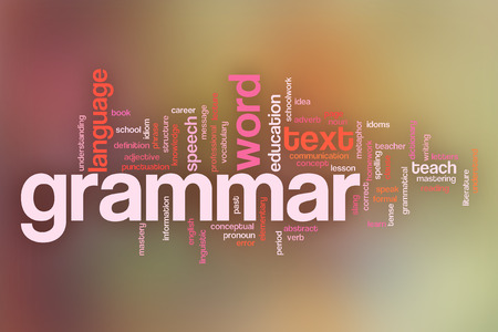 Grammar concept word cloud background on a pastel blurred background Imagens