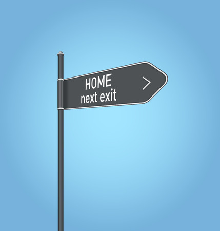 Home next exit, dark grey road sign concept on blue background photo