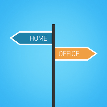opposed: Home vs office choice road sign concept, flat design Stock Photo