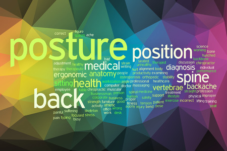 Posture concept word cloud  on a low poly background with polygons