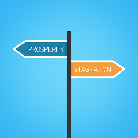opposed: Prosperity vs stagnation choice road sign concept, flat design