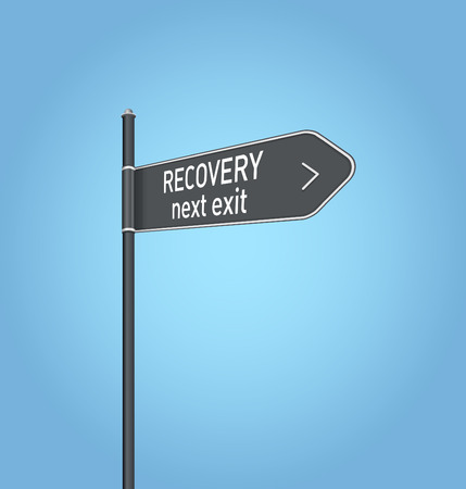 road to recovery: Recovery next exit, dark grey road sign concept on blue background Stock Photo