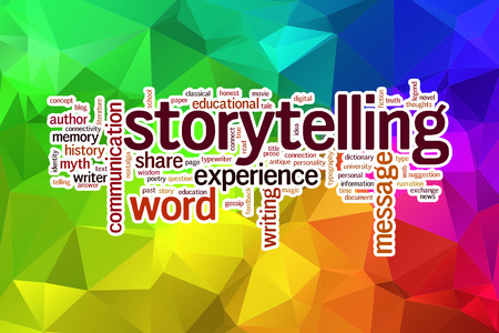 Storytelling concept word cloud  on a low poly background with polygons Stock Photo