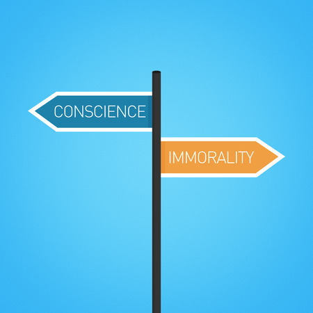 opposed: Conscience vs immorality choice road sign concept, flat design