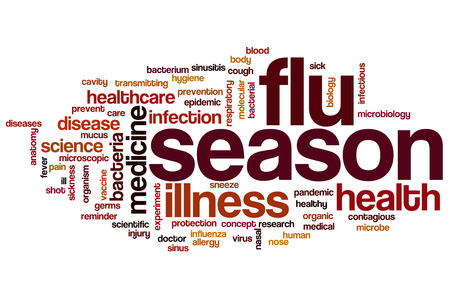 Flu season word cloud concept Foto de archivo