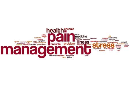 pain management: Pain management word cloud concept Stock Photo