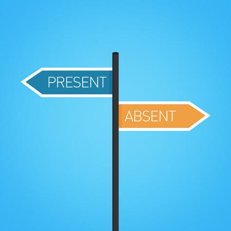 Present vs afwezig keuze verkeersbord concept, platte ontwerp