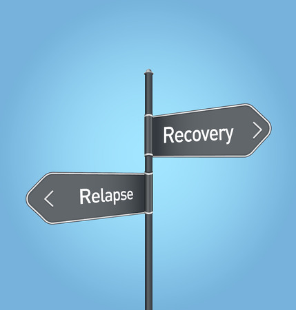 relapse: Recovery vs relapse choice concept road sign on blue background
