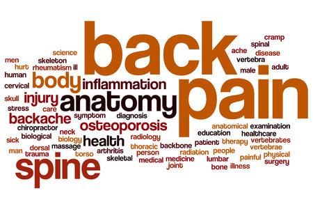 massage homme: Les maux de dos notion mot de cloud Banque d'images