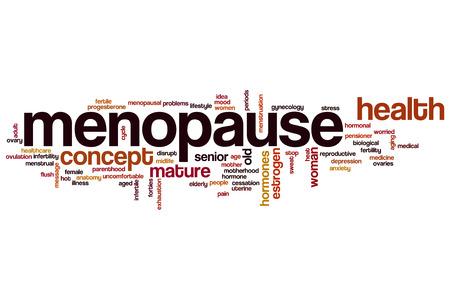 ovarios: Palabra menopausia concepto de nube Foto de archivo