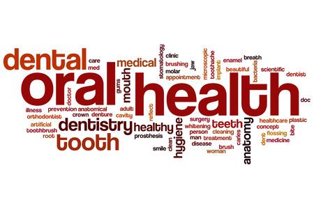 Oral health word cloud concept Imagens