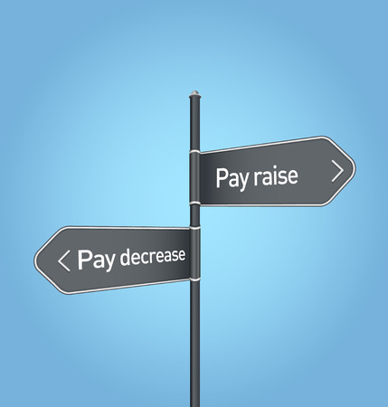 pay raise: Pay raise vs pay decrease choice concept road sign on blue background