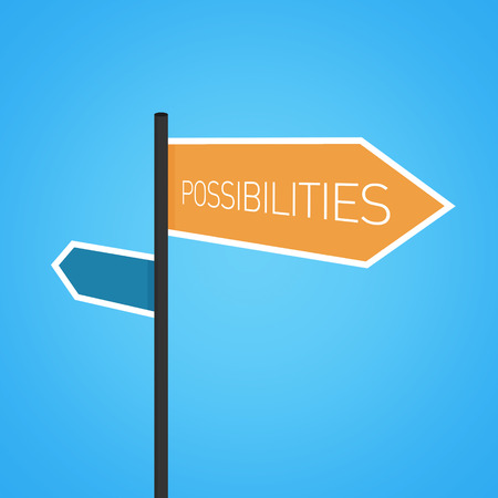 possibilities: Possibilities nearby, orange road sign concept on blue background