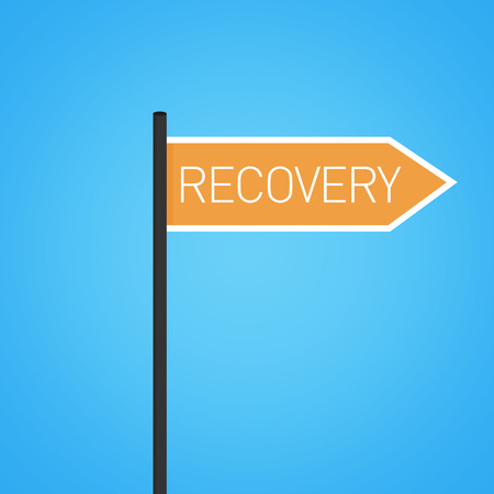 road to recovery: Recovery nearby, orange road sign concept, flat design Stock Photo