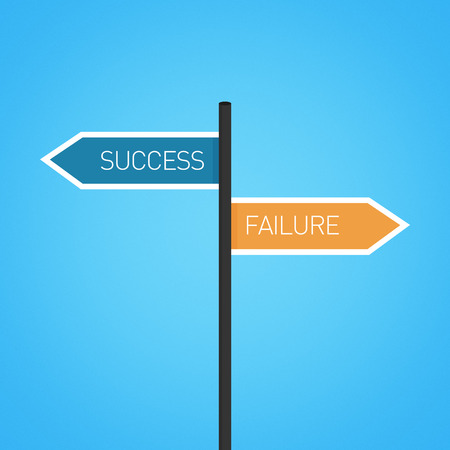 opposed: Success vs failure choice road sign concept, flat design
