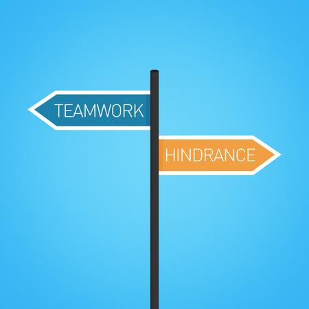 hindrance: Teamwork vs hindrance choice road sign concept, flat design Stock Photo