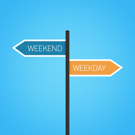 weekday: Weekend vs weekday choice road sign concept, flat design Stock Photo