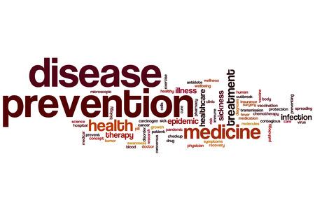 disease prevention: La prevenci�n de enfermedades concepto de nube de palabras