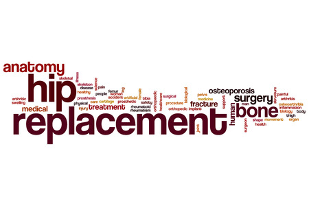 hip replacement: Hip replacement word cloud concept Stock Photo
