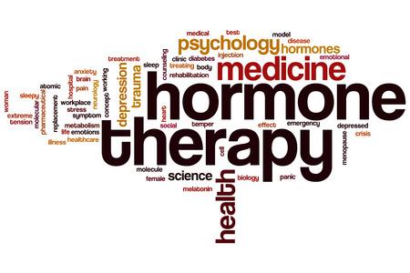 La terapia hormonal concepto de nube de palabras Foto de archivo