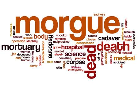 cadaver: Morgue word cloud concept