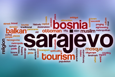 Sarajevo word cloud concept with abstract background photo
