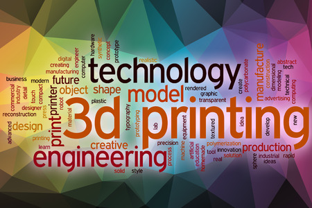 object printing: 3d printing word cloud concept with abstract background
