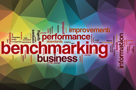 benchmarking: Benchmarking word cloud concept with abstract background