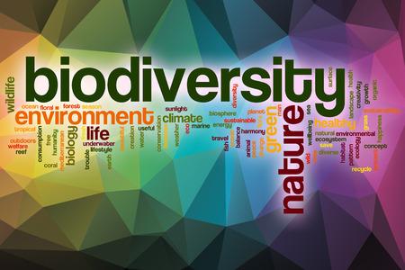 Biodiversiteit word cloud concept met abstracte achtergrond