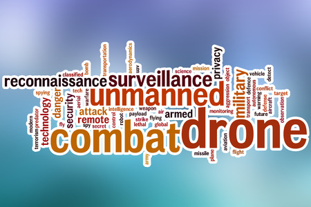 payload: Combat drone word cloud concept with abstract background Stock Photo