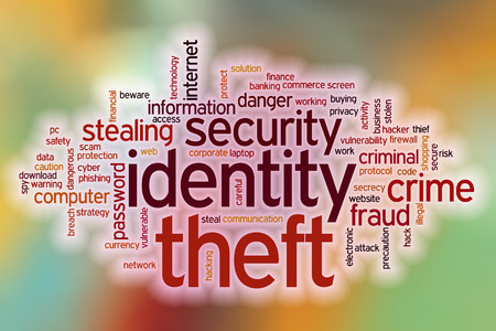 identity theft: Identity theft word cloud concept with abstract background Stock Photo