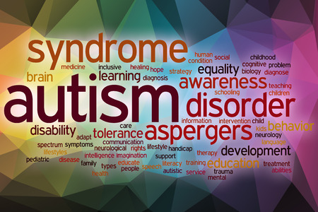 Autism word cloud concept with abstract background photo