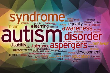 enfermedades mentales: Autismo concepto de nube de palabras con el fondo abstracto