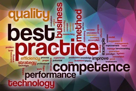 Best practice word cloud concept with abstract background