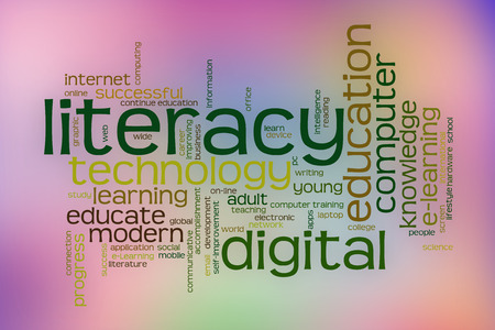 Digital literacy word cloud concept with abstract background Imagens