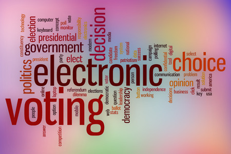 electronic voting: Electronic voting word cloud concept with abstract background Stock Photo