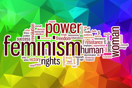 stroked: Feminism word cloud concept with abstract background Stock Photo