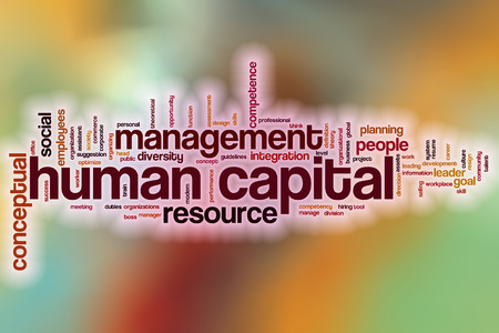 Human capital word cloud concept with abstract background Stock Photo