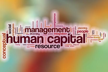capital humano: Humano palabra nube concepto de capital con el fondo abstracto
