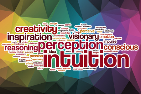 Intuition word cloud concept with abstract background