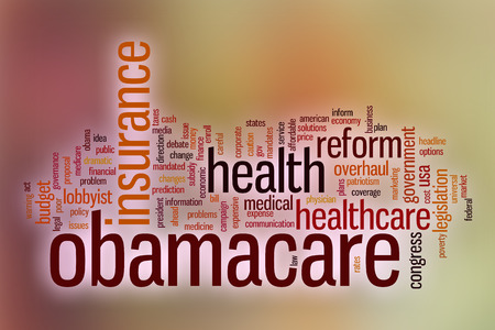 Obamacare word cloud concept with abstract background photo