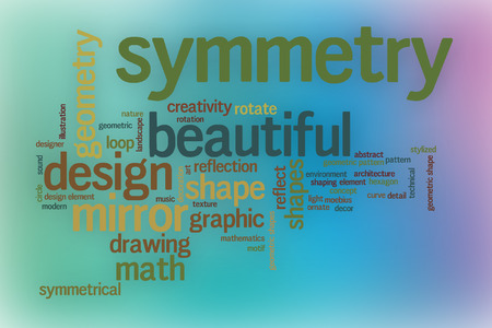 symmetry: Symmetry word cloud concept with abstract background