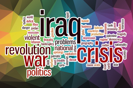 israel war: Iraq crisis word cloud concept with abstract background