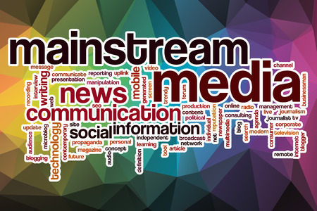mainstream: Mainstream media word cloud concept with abstract background Stock Photo