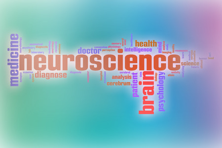 Neuroscience word cloud concept with abstract background