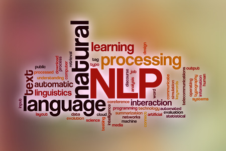Natural language processing word cloud concept with abstract background