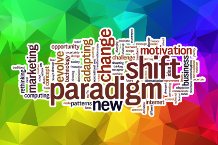 paradigm: Paradigm shift word cloud concept with abstract background